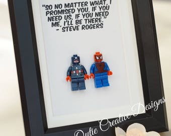 Spiderman, Lego, Superhero, gift, daddy, gift for him, lego minifigures, for valentine, father's day, anniversary, birthday inspired by LEGO