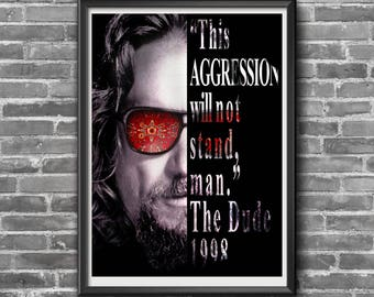 The Big Lebowski, The Dude, 18x24 Quote Poster, Home Decor, 1998
