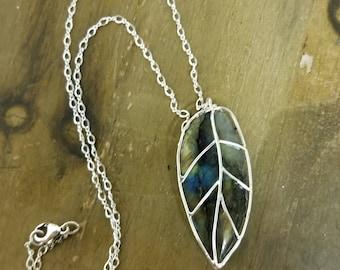 Sterling Silver Labradorite Leaf Necklace