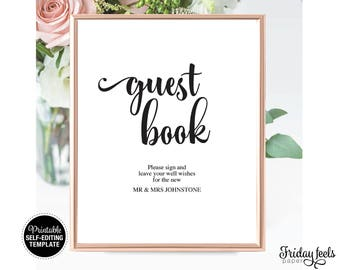 Guest Book Wedding Sign Template, Printable Sign, Self-editing Instant Download PDF, WS01
