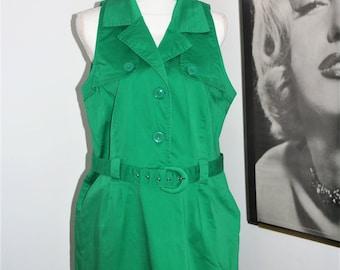 Vintage Emerald Green Dress w/ Belt