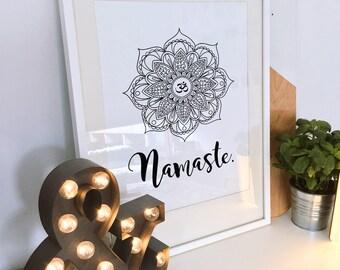 Printable Wall Art, Printable Art, Printable Quote, Yoga Print, Kundalini Print, Namaste, Spiritual, Modern Art, Om