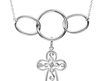 Sterling Silver Joined Together in Christ Cross Necklace