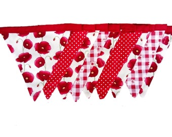 Red Poppies with Spotty and Daisy Gingham Cotton Double Sided Bunting
