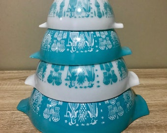 Pyrex Amish Butterprint Cinderella Nesting Bowls 441 442 443 444