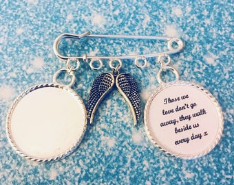 Photo memory charm pin with wings and verse