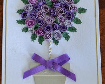 Topiary tree or roses - handmade quilled greeting card