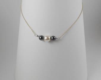 Genuine Tuxedo Pearl Necklace
