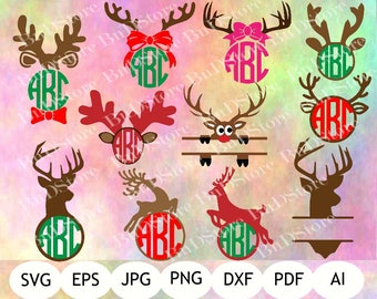 11 Reindeer Monograms SVG, Christmas SVG, Winter SVG, Reindeer Monogram Printable, Instant Download