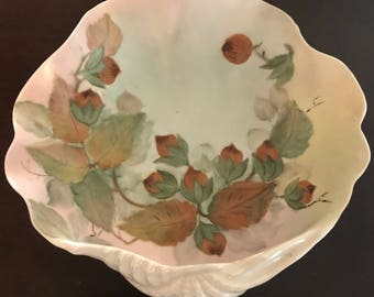 Hand Painted Clam Shell Bowl Dated 1960