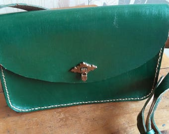 Green dyed leather tote bag