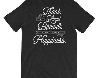 """Men's """"Thank a Local Brewer for your Hoppiness"""" T-Shirt - Black Heather"""