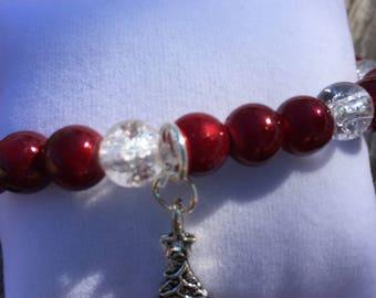 Cranberry Ice Glass Beads Womens Bracelet Christmas