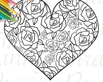 Valentines Day Coloring Page Heart Wedding Printable Adult