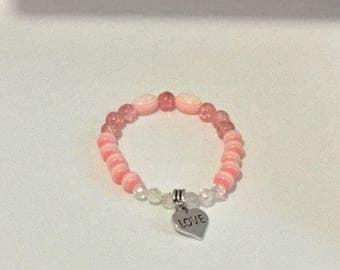 Pink Glass Bead Stretch Bracelet