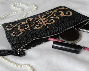 Black clutch Elegant handbag Knitted handbag Clutch from beads Evening purse Small handbag from beads Black handbag