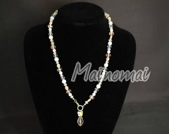 Golden Steel necklace and bracelet with natural stones and crystals