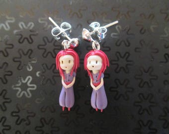 Earrings polymer clay little red princesses