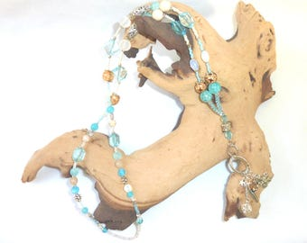 Long Y-chain-bette necklace-Turquoise, beige & white-