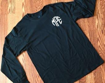 Monogrammed long sleeve T shirt - Monogrammed T shirt - Long sleeve T shirt - Monogram T shirt