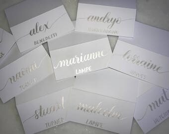 Various Colours!!! Custom Modern Hand Calligraphy/Caligraphy Wedding Place Cards / Name Cards/Escort/Placecard/Place Card /Confetti / Gold