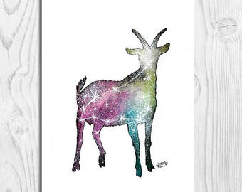 Illustration horoscope, Galaxy, Galaxy, print, Watercolour prints, nursery Decor, A4, A5, A6