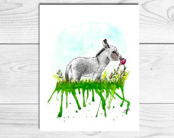 Illustration donkey Bebe, Baby Donkey, print, children's decor, Watercolour prints, nursery decor, A4, A5, A6