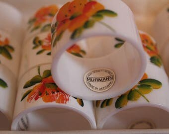 Set 0f 12 Hand-Painted Murmann Napkin Rings