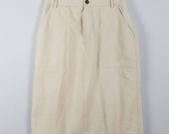 Liz Claiborne off white knee length straight vintage cotton skirt size 8