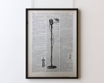 Mic Stand, Screen Printed Dictionary Art, Vintage Dictionary Print, Art Print, Wall Decor, Microphone Stand Print, Screen Print Poster