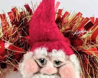 Santa gnome ornament, santa gnome, red hat gnome, felted gnome, christmas ornament, christmas gnome, gnome ornament, christmas decorations
