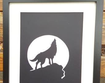 Wolf picture - handmade papercut wall art, unframed wolf silhouette.