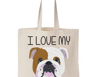 I Love My Bulldog Canvas Tote Bag