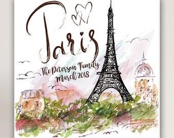 Personalized Paris Canvas - Paris Canvas Print - Personalized Family Print - Canvas Print - Paris Wall Decor - Eiffel Tower Canvas Prints