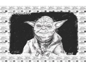 Star Wars Yoda ticket stub art print