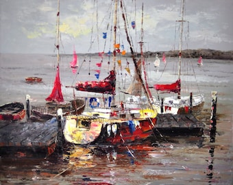 Oil painting, boats painting, painting on canvas, oil on canvas