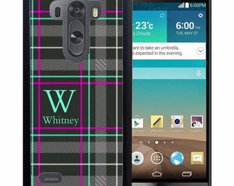 Personalized Rubber Case For LG  3, 4, 5, 6 - Black Striped Plaid Flannel