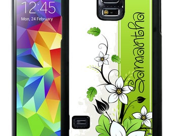 Personalized Rubber Case For Samsung S5, S6, S6 edge, S6 Edge Plus, S7, S7 Edge,  8, 8 plus -  Black Green Flowers