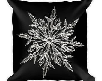 Ice Crystal Square Pillow | Snowflake Pillow | Decorative Pillow | Snowflakes Pillow | Throw Pillow | Couch Pillow | Winter Home Decor