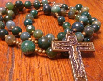 Catholic Rosary - Natural Jasper Bead Rosary, Semi-precious Gemstone, Green, Bronze, Manly, Heirloom Quality,5 Decade Rosary, Flex Wire