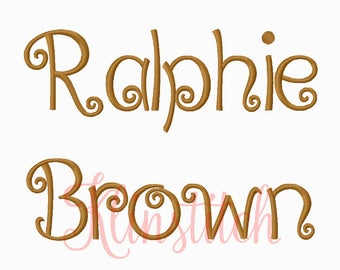50% Sale!! Ralphie Brown Font Embroidery Fonts 3 Sizes Fonts BX Fonts Embroidery Designs PES Fonts Alphabets - Instant Download