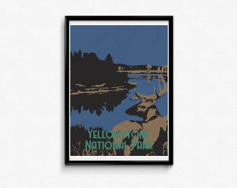 Yellowstone National Park, nature, Montana, illustration, Gift for her, christmas Gift, printable, home Decor, instant download, Gift ideas