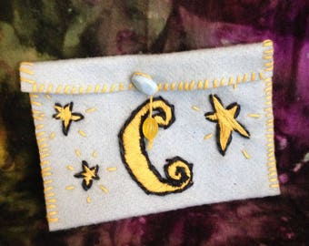 Hand Stitched Felt Pouch with Celestial Accents