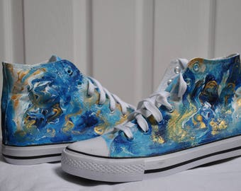 Personalised shoes, Abstract shoes, customised converse style trainers, hand painted