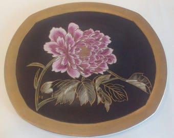 Piatto porcellana dipinto a mano, stile giapponese, oro zecchino, olio molle, regalo, collezione, gift, china painting