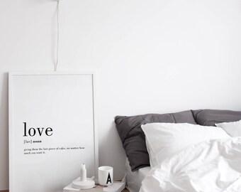 Liebe Definition Druck, Lustige Liebe Definition, Liebe Definition Druck,  Wandkunst, Valentinstag Geschenk