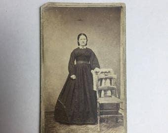 CDV Carte De Viste Old Antique Photo Portrait Of Woman Standing by a Chair Fashion Dress
