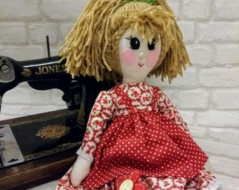 vintage inspired handmade one of a kind traditional rag doll