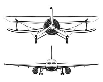 Aircraft Labels set SVG | Airplane icon | Air Transport | Vintage airplane bange | Digital file | Vector illustration | Flight, Voyage