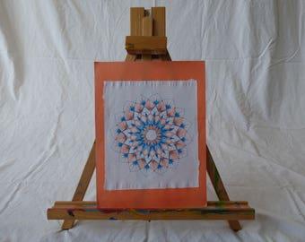 "Original hand drawn blue and orange hand drawn mandala on printer paper mounted on 12"" by 9"" orange construction paper"
